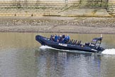 The Boat Race season 2017 -  The Cancer Research Women's Boat Race: A Metropolitan Police RIB patrolling the river at Putney on Boat Race day. River Thames between Putney Bridge and Mortlake, London SW15,  United Kingdom, on 02 April 2017 at 14:19, image #13
