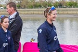 The Boat Race season 2017 -  The Cancer Research Women's Boat Race: OUWBC cox Eleanor Shearer and 6 seat Harriet Austin on the way to the toss for the Women's Boat Race. River Thames between Putney Bridge and Mortlake, London SW15,  United Kingdom, on 02 April 2017 at 14:39, image #17