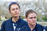 The Boat Race season 2017 -  The Cancer Research Women's Boat Race: OUWBC's 3 seat, Rebecca Te Water Naudé, and 4 seat Rebecca Esselstein, at the toss for the Women's Boat Race. River Thames between Putney Bridge and Mortlake, London SW15,  United Kingdom, on 02 April 2017 at 14:40, image #23