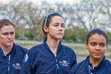 The Boat Race season 2017 -  The Cancer Research Women's Boat Race: OUWBC's 4 seat 4 Rebecca Esselstein, 5 seat Chloe Laverack, and 7 seat Jenna Hebert at the toss. River Thames between Putney Bridge and Mortlake, London SW15,  United Kingdom, on 02 April 2017 at 14:40, image #24