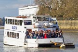 The Boat Race season 2017 -  The Cancer Research Women's Boat Race: London River Cruises catamaran cruiser Suerita with guests watching the Boat Race from a unique perspective. River Thames between Putney Bridge and Mortlake, London SW15,  United Kingdom, on 02 April 2017 at 15:40, image #44