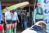 The Boat Race season 2017 -  The Cancer Research Women's Boat Race: The Cambridge crew carrying their boat from the boat house to the river, on the left CUWBC stroke Melissa Wilson. River Thames between Putney Bridge and Mortlake, London SW15,  United Kingdom, on 02 April 2017 at 15:47, image #49