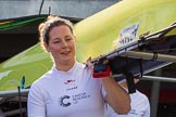 The Boat Race season 2017 -  The Cancer Research Women's Boat Race: CUWBC stroke Melissa Wilson carrying the Cambridge boat from the boat house to the river. River Thames between Putney Bridge and Mortlake, London SW15,  United Kingdom, on 02 April 2017 at 15:47, image #51