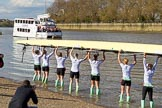 The Boat Race season 2017 -  The Cancer Research Women's Boat Race: CUWBC carrying the Cambridge boat from the boat house to the river. River Thames between Putney Bridge and Mortlake, London SW15,  United Kingdom, on 02 April 2017 at 15:47, image #59