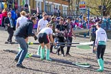 The Boat Race season 2017 -  The Cancer Research Women's Boat Race: CUWBC collectiong the oars to get ready for the Women's Boat Race. River Thames between Putney Bridge and Mortlake, London SW15,  United Kingdom, on 02 April 2017 at 15:48, image #62