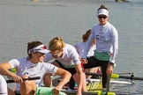 The Boat Race season 2017 -  The Cancer Research Women's Boat Race: CUWBC about to set off at Putney Embankment, here 4 Anna Dawson, 3 Claire Lambe, 2 Imogen Grant, bow Ashton Brown. River Thames between Putney Bridge and Mortlake, London SW15,  United Kingdom, on 02 April 2017 at 15:48, image #64