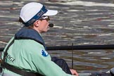 The Boat Race season 2017 -  The Cancer Research Women's Boat Race: CUWBC on the way to Putney Bridge before the start of the Women's Boat Race, here cox Matthew Holland. River Thames between Putney Bridge and Mortlake, London SW15,  United Kingdom, on 02 April 2017 at 15:50, image #75