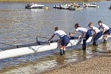 The Boat Race season 2017 -  The Cancer Research Women's Boat Race: OUWBC getting their boat onto the river, here 4 Rebecca Esselstein, 3 Rebecca Te Water Naudé, 2 Flo Pickles, bow Alice Roberts. River Thames between Putney Bridge and Mortlake, London SW15,  United Kingdom, on 02 April 2017 at 15:50, image #80