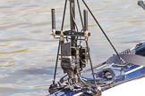 The Boat Race season 2017 -  The Cancer Research Women's Boat Race: The BBC camera and transmission equipment mounted on the Oxford Blue Boat. River Thames between Putney Bridge and Mortlake, London SW15,  United Kingdom, on 02 April 2017 at 15:51, image #82
