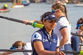 The Boat Race season 2017 -  The Cancer Research Women's Boat Race: OUWBC getting their boat ready, here 7 seat 7 Jenna Hebert. River Thames between Putney Bridge and Mortlake, London SW15,  United Kingdom, on 02 April 2017 at 15:51, image #83