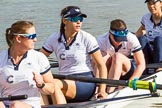 The Boat Race season 2017 -  The Cancer Research Women's Boat Race: OUWBC getting ready to set off, here  6 Harriet Austin, 5 Chloe Laverack, 4 Rebecca Esselstein, 3 Rebecca Te Water Naudé. River Thames between Putney Bridge and Mortlake, London SW15,  United Kingdom, on 02 April 2017 at 15:51, image #84