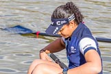 The Boat Race season 2017 -  The Cancer Research Women's Boat Race: OUWBC getting ready to set off, here 7 Jenna Hebert. River Thames between Putney Bridge and Mortlake, London SW15,  United Kingdom, on 02 April 2017 at 15:52, image #88