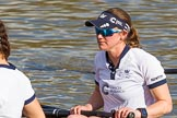 The Boat Race season 2017 -  The Cancer Research Women's Boat Race: OUWBC getting ready to set off, here 4 Rebecca Esselstein. River Thames between Putney Bridge and Mortlake, London SW15,  United Kingdom, on 02 April 2017 at 15:52, image #90