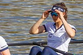 The Boat Race season 2017 -  The Cancer Research Women's Boat Race: OUWBC getting ready to set off, here 3 Rebecca Te Water Naudé. River Thames between Putney Bridge and Mortlake, London SW15,  United Kingdom, on 02 April 2017 at 15:52, image #91