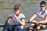 The Boat Race season 2017 -  The Cancer Research Women's Boat Race: OUWBC getting ready to set off, here 2 Flo Pickles, bow Alice Roberts. River Thames between Putney Bridge and Mortlake, London SW15,  United Kingdom, on 02 April 2017 at 15:52, image #92
