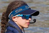 The Boat Race season 2017 -  The Cancer Research Women's Boat Race: Close-up of OUWBC cox Eleanor Shearer. River Thames between Putney Bridge and Mortlake, London SW15,  United Kingdom, on 02 April 2017 at 15:52, image #93