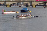 The Boat Race season 2017 -  The Cancer Research Women's Boat Race: OUWBC on the way to Putney Bridge before the start of the Women's Boat Race, Cox Eleanor Shearer, stroke Emily Cameron, 7 Jenna Hebert, 6 Harriet Austin, 5 Chloe Laverack, 4 Rebecca Esselstein, 3 Rebecca Te Water Naudé, 2 Flo Pickles, bow Alice Roberts. River Thames between Putney Bridge and Mortlake, London SW15,  United Kingdom, on 02 April 2017 at 15:54, image #96