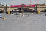 The Boat Race season 2017 -  The Cancer Research Women's Boat Race: OUWBC on the way to Putney Bridge before the start of the Women's Boat Race. River Thames between Putney Bridge and Mortlake, London SW15,  United Kingdom, on 02 April 2017 at 15:55, image #97