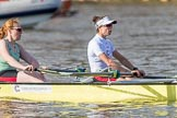 The Boat Race season 2017 -  The Cancer Research Women's Boat Race: CUWBC about to reach the start of the Women's Boat Race, here bow Ashton Brown, 2 Imogen Grant. River Thames between Putney Bridge and Mortlake, London SW15,  United Kingdom, on 02 April 2017 at 16:25, image #105