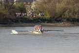 The Boat Race season 2017 -  The Cancer Research Women's Boat Race: The leading CUWBC boat approaching the Mile Post. River Thames between Putney Bridge and Mortlake, London SW15,  United Kingdom, on 02 April 2017 at 16:38, image #139