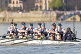 The Boat Race season 2017 -  The Cancer Research Women's Boat Race: OUWBC working hard to catch up with Cambridge, here bow Alice Roberts, 2 Flo Pickles, 3 Rebecca Te Water Naudé, 4 Rebecca Esselstein, 5 Chloe Laverack, 6 Harriet Austin, 7 Jenna Hebert, stroke Emily Cameron, cox Eleanor Shearer. River Thames between Putney Bridge and Mortlake, London SW15,  United Kingdom, on 02 April 2017 at 16:38, image #140