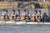 The Boat Race season 2017 -  The Cancer Research Women's Boat Race: OUWBC working hard to catch up with Cambridge, here bow Alice Roberts, 2 Flo Pickles, 3 Rebecca Te Water Naudé, 4 Rebecca Esselstein, 5 Chloe Laverack, 6 Harriet Austin, 7 Jenna Hebert, stroke Emily Cameron, cox Eleanor Shearer. River Thames between Putney Bridge and Mortlake, London SW15,  United Kingdom, on 02 April 2017 at 16:38, image #141