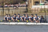 The Boat Race season 2017 -  The Cancer Research Women's Boat Race: OUWBC working hard to catch up with Cambridge, here bow Alice Roberts, 2 Flo Pickles, 3 Rebecca Te Water Naudé, 4 Rebecca Esselstein, 5 Chloe Laverack, 6 Harriet Austin, 7 Jenna Hebert, stroke Emily Cameron, cox Eleanor Shearer. River Thames between Putney Bridge and Mortlake, London SW15,  United Kingdom, on 02 April 2017 at 16:39, image #144