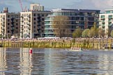The Boat Race season 2017 -  The Cancer Research Women's Boat Race: Crowds along the Thames and on the roofs as the CUWBC boat passes Fulham Reach. River Thames between Putney Bridge and Mortlake, London SW15,  United Kingdom, on 02 April 2017 at 16:40, image #147