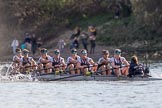 The Boat Race season 2017 -  The Cancer Research Women's Boat Race: Oxford working hard to catch up with Cambridge in the afternoon sunshine - bow Alice Roberts, 2 Flo Pickles, 3 Rebecca Te Water Naudé, 4 Rebecca Esselstein, 5 Chloe Laverack, 6 Harriet Austin, 7 Jenna Hebert, stroke Emily Cameron, cox Eleanor Shearer. River Thames between Putney Bridge and Mortlake, London SW15,  United Kingdom, on 02 April 2017 at 16:48, image #172