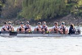 The Boat Race season 2017 -  The Cancer Research Women's Boat Race: Oxford working hard to catch up with Cambridge in the afternoon sunshine - bow Alice Roberts, 2 Flo Pickles, 3 Rebecca Te Water Naudé, 4 Rebecca Esselstein, 5 Chloe Laverack, 6 Harriet Austin, 7 Jenna Hebert, stroke Emily Cameron, cox Eleanor Shearer. River Thames between Putney Bridge and Mortlake, London SW15,  United Kingdom, on 02 April 2017 at 16:49, image #175