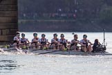 The Boat Race season 2017 -  The Cancer Research Women's Boat Race: OUWBC reaching Barned Bridge, with Cambridge around 50 seconds ahead - bow Alice Roberts, 2 Flo Pickles, 3 Rebecca Te Water Naudé, 4 Rebecca Esselstein, 5 Chloe Laverack, 6 Harriet Austin, 7 Jenna Hebert, stroke Emily Cameron, cox Eleanor Shearer. River Thames between Putney Bridge and Mortlake, London SW15,  United Kingdom, on 02 April 2017 at 16:50, image #177