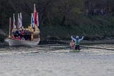 The Boat Race season 2017 -  The Cancer Research Women's Boat Race: Cambridge has won the Women's Boat Race, with jubilant cox Matthew Holland. On the left the Royal Barge Gloriana. River Thames between Putney Bridge and Mortlake, London SW15,  United Kingdom, on 02 April 2017 at 16:54, image #180