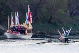 The Boat Race season 2017 -  The Cancer Research Women's Boat Race: Cambridge has won the Women's Boat Race, with jubilant cox Matthew Holland. On the left the Royal Barge Gloriana. River Thames between Putney Bridge and Mortlake, London SW15,  United Kingdom, on 02 April 2017 at 16:54, image #181