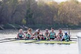 The Boat Race season 2017 -  The Cancer Research Women's Boat Race: Cambridge has won the Women's Boat Race, with a jubilant crew - bow Ashton Brown, 2 Imogen Grant, 3 Claire Lambe, 4 Anna Dawson, 5 Holly Hill, 6 Alice White, 7 Myriam Goudet, stroke Melissa Wilson, cox Matthew Holland. River Thames between Putney Bridge and Mortlake, London SW15,  United Kingdom, on 02 April 2017 at 16:55, image #190