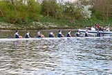 The Boat Race season 2017 -  The Cancer Research Women's Boat Race: OUWBC at the finish line, with one of the press boats behind. River Thames between Putney Bridge and Mortlake, London SW15,  United Kingdom, on 02 April 2017 at 16:57, image #193