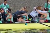 The Boat Race season 2017 -  The Cancer Research Women's Boat Race: CUWBC acelebrating after having won the Women's Boat Race. River Thames between Putney Bridge and Mortlake, London SW15,  United Kingdom, on 02 April 2017 at 16:58, image #197