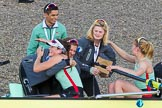 The Boat Race season 2017 -  The Cancer Research Women's Boat Race: CUWBC acelebrating after having won the Women's Boat Race. River Thames between Putney Bridge and Mortlake, London SW15,  United Kingdom, on 02 April 2017 at 16:58, image #198