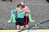 The Boat Race season 2017 -  The Cancer Research Women's Boat Race: CUWBC acelebrating after having won the Women's Boat Race. River Thames between Putney Bridge and Mortlake, London SW15,  United Kingdom, on 02 April 2017 at 16:58, image #199