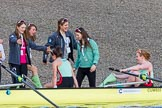 The Boat Race season 2017 -  The Cancer Research Women's Boat Race: CUWBC acelebrating after having won the Women's Boat Race. River Thames between Putney Bridge and Mortlake, London SW15,  United Kingdom, on 02 April 2017 at 16:58, image #201