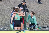 The Boat Race season 2017 -  The Cancer Research Women's Boat Race: CUWBC acelebrating after having won the Women's Boat Race. River Thames between Putney Bridge and Mortlake, London SW15,  United Kingdom, on 02 April 2017 at 16:58, image #202