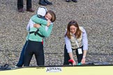 The Boat Race season 2017 -  The Cancer Research Women's Boat Race: CUWBC acelebrating after having won the Women's Boat Race. River Thames between Putney Bridge and Mortlake, London SW15,  United Kingdom, on 02 April 2017 at 16:58, image #203