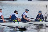 The Boat Race season 2017 -  The Cancer Research Women's Boat Race: OUWBC at the finish line, here 6 Harriet Austin, 7 Jenna Hebert, stroke Emily Cameron, cox Eleanor Shearer. River Thames between Putney Bridge and Mortlake, London SW15,  United Kingdom, on 02 April 2017 at 16:58, image #204