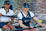 The Boat Race season 2017 -  The Cancer Research Women's Boat Race: OUWBC at the finish line, here 7 seat Jenna Hebert and 6 seat Harriet Austin. River Thames between Putney Bridge and Mortlake, London SW15,  United Kingdom, on 02 April 2017 at 16:59, image #206