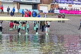 The Boat Race season 2017 -  The Cancer Research Women's Boat Race: CUWBC getting their boat onto dry land at Mortlake & Alpha Boat Club. River Thames between Putney Bridge and Mortlake, London SW15,  United Kingdom, on 02 April 2017 at 17:00, image #209