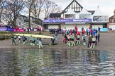 The Boat Race season 2017 -  The Cancer Research Women's Boat Race: CUWBC getting their boat onto dry land at Mortlake & Alpha Boat Club. River Thames between Putney Bridge and Mortlake, London SW15,  United Kingdom, on 02 April 2017 at 17:00, image #210