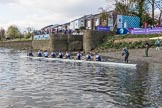The Boat Race season 2017 -  The Cancer Research Women's Boat Race: As the Cambridge boat is carried away, OUWBC reaches the shore at Mortlake. River Thames between Putney Bridge and Mortlake, London SW15,  United Kingdom, on 02 April 2017 at 17:00, image #212