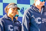 The Boat Race season 2017 -  The Cancer Research Women's Boat Race: OUWBC's 5 seat, Jenna Herbert, and 6 seat, Harriet Austin, at the price giving. River Thames between Putney Bridge and Mortlake, London SW15,  United Kingdom, on 02 April 2017 at 17:09, image #218