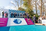The Boat Race season 2017 -  The Cancer Research Women's Boat Race: OUWBC leaving the price giving ceremony. River Thames between Putney Bridge and Mortlake, London SW15,  United Kingdom, on 02 April 2017 at 17:10, image #220