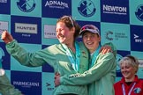 The Boat Race season 2017 -  The Cancer Research Women's Boat Race: Matthew Holland, cox of the successful CUWBC eight, together with stroke Melissa Wilson at the price giving. River Thames between Putney Bridge and Mortlake, London SW15,  United Kingdom, on 02 April 2017 at 17:10, image #223