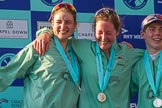 The Boat Race season 2017 -  The Cancer Research Women's Boat Race: CUWBC's 7 Myriam Goudet, stroke Melissa Wilson, and cox Matthew Holland at the Boat Race price giving. River Thames between Putney Bridge and Mortlake, London SW15,  United Kingdom, on 02 April 2017 at 17:10, image #224